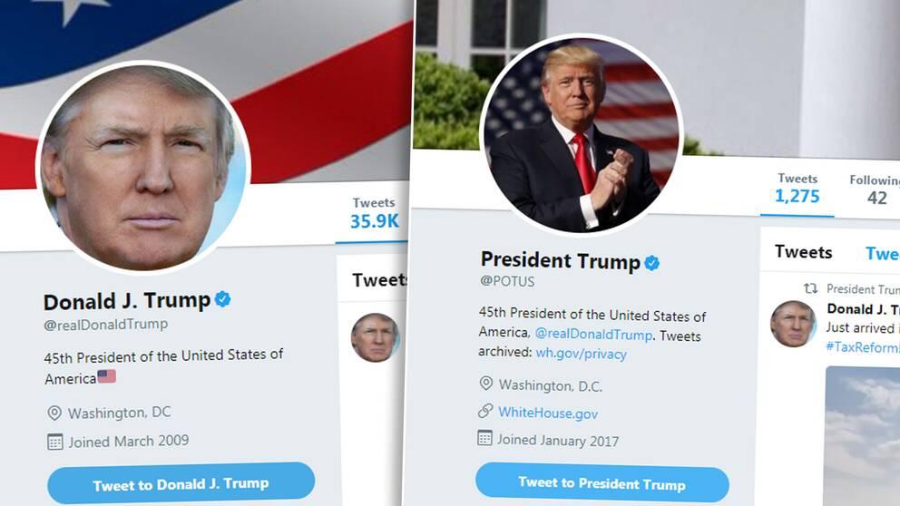 Trumps två twitterkonton: sitt privata och sitt officiella konto som president.