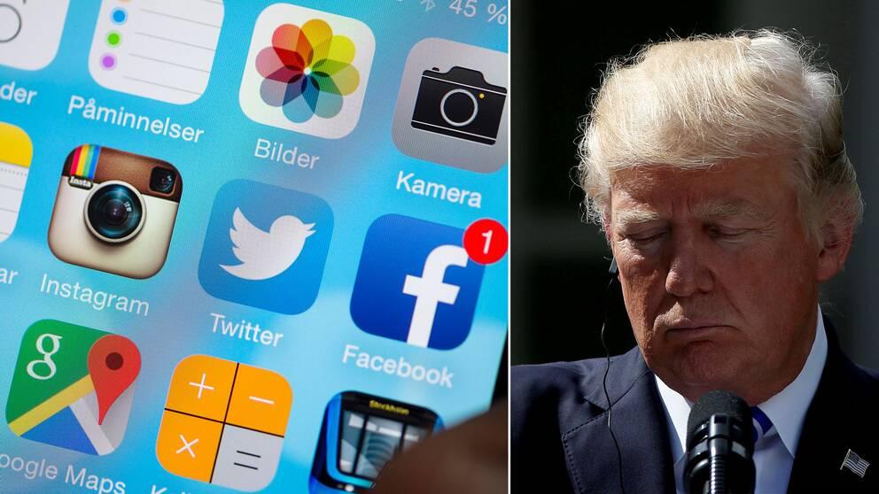 Flera nätjättars appar, samt Donald Trump