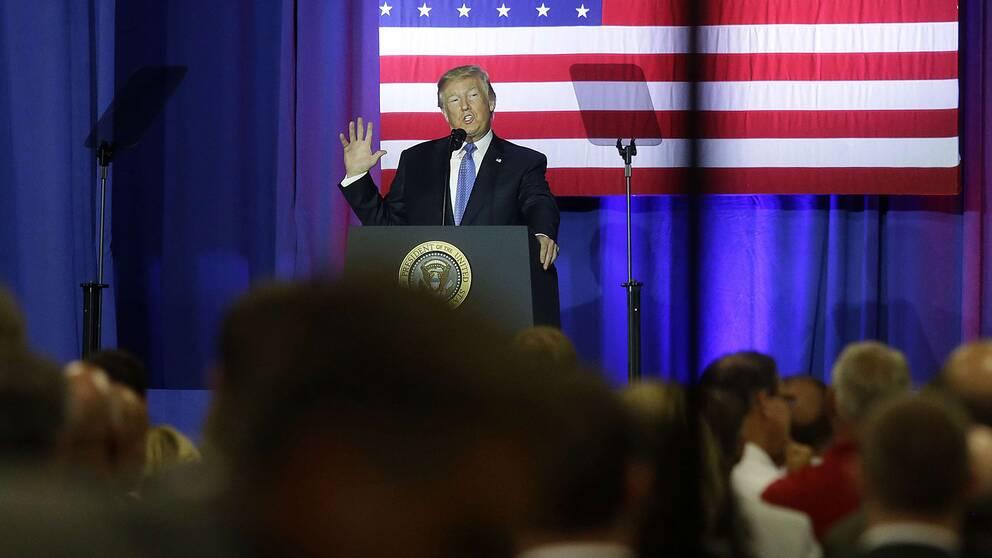Donald Trump presenterar skattereformen i Indianapolis, Indiana
