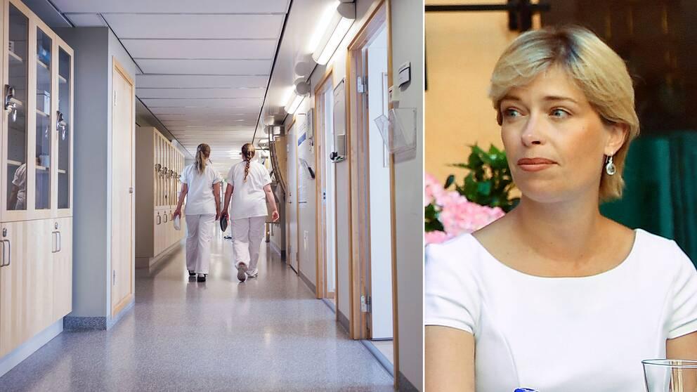 Sjukvårdspersonal i en korridor samt socialminister Annika Strandhäll