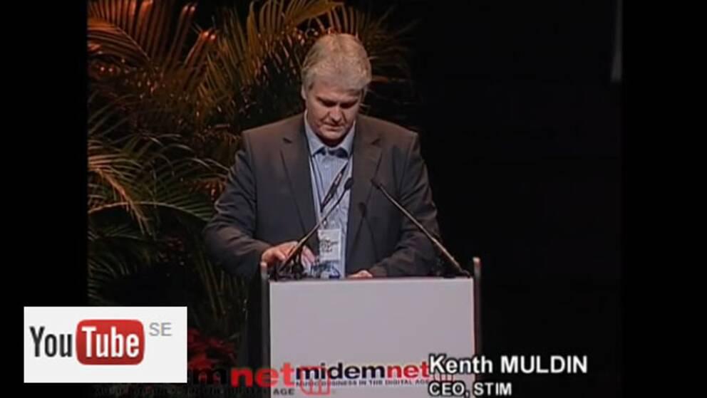 Stims VD Kenth Muldin i ett Youtubeklipp från 2007 när han deltog i en konferens om samarbetssätt mellan muskskapare och streamingföretag.
