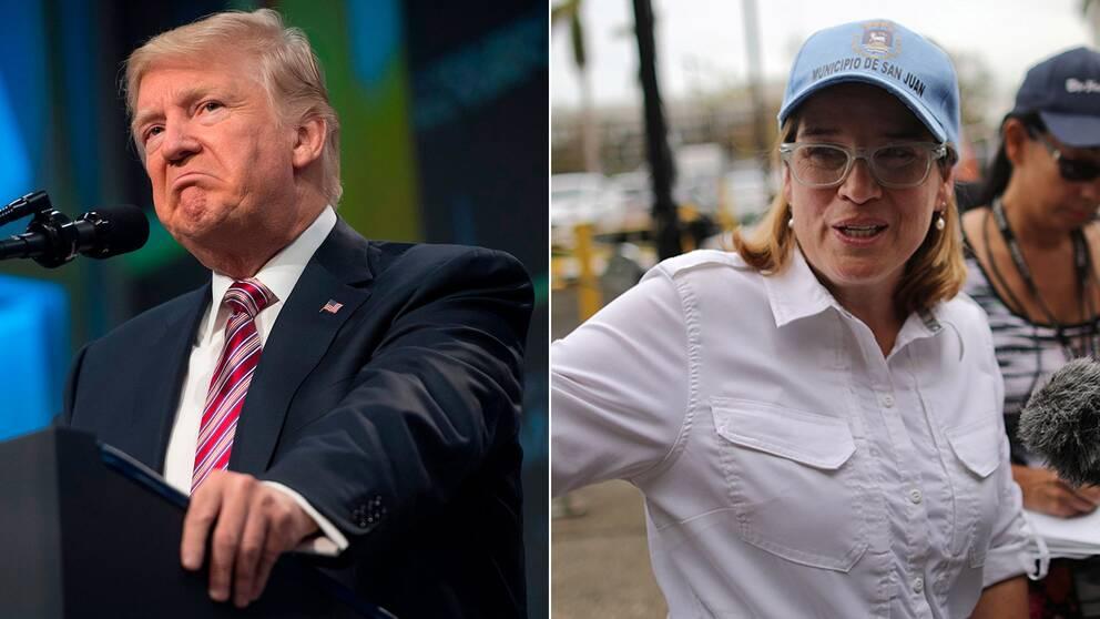 USA:s president Donald Trump och San Juans borgmästare Carmen Yulin Cruz.