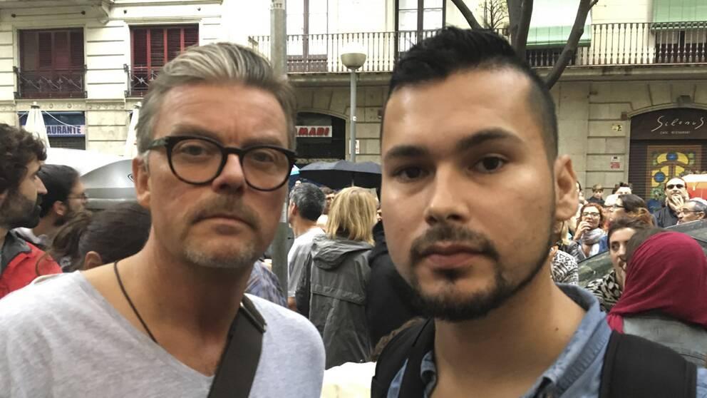 SVT Nyheters reporter Per Anders Engler och fotograf Pablo Torres är på plats i Barcelona.