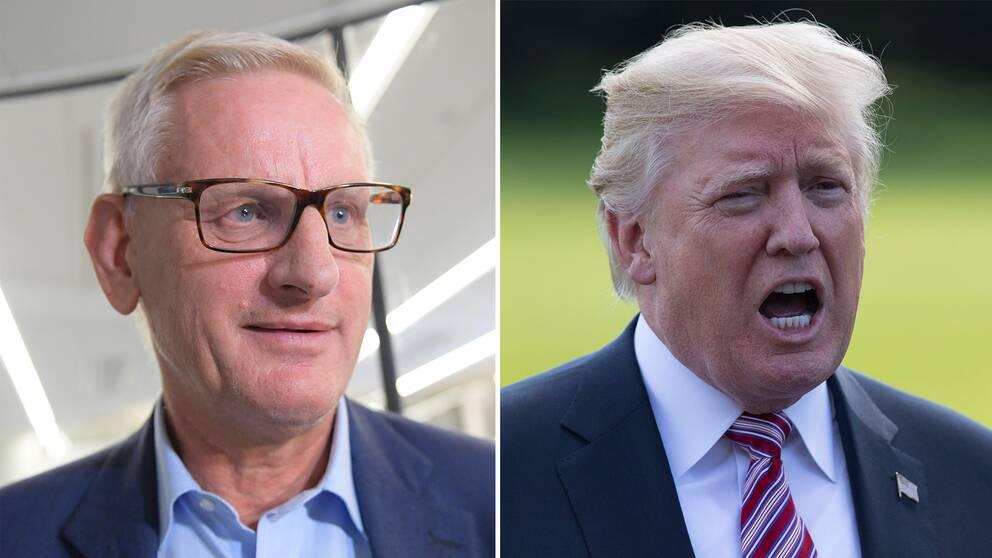 Fd utrikesminister Carl Bildt och USA:s president Donald Trump.