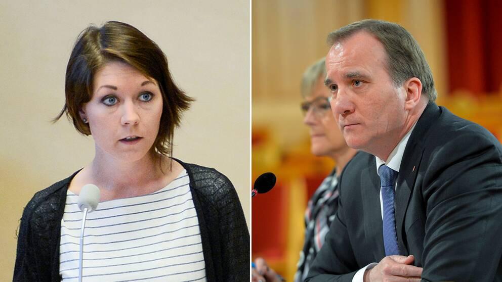 Miljöpartiets migrationspolitiska talesperson Maria Ferm och Statsminister Stefan Löfven.