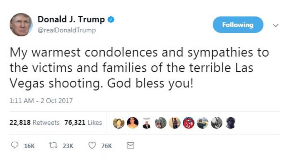 Donald Trump skickar de varmaste tankarna till offrens anhöriga.