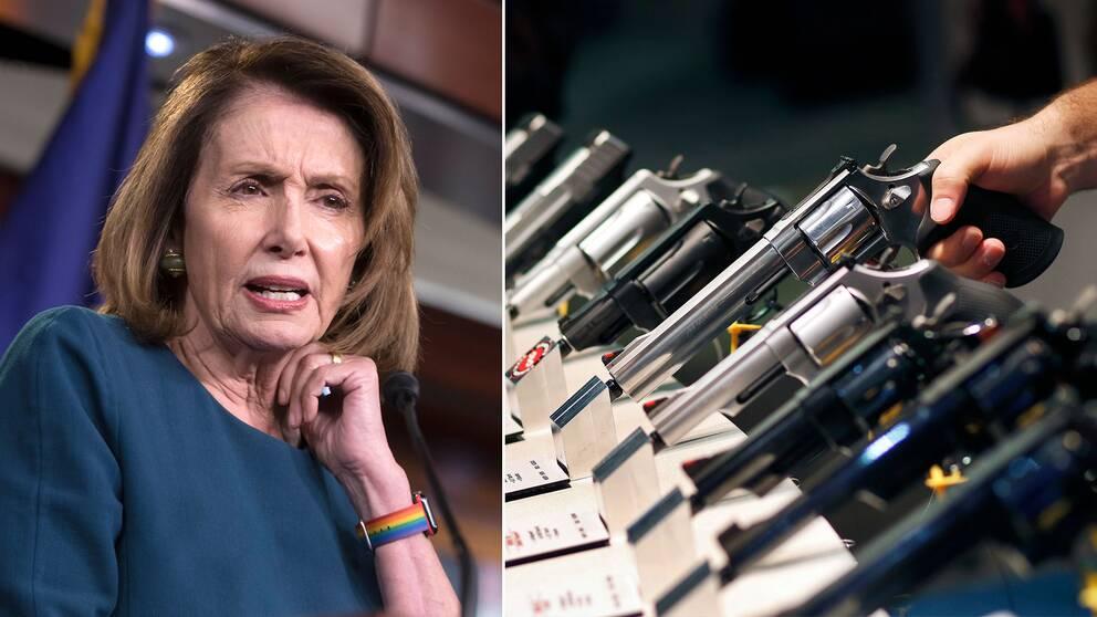 Nancy Pelosi och en hand som prövar olika skjutvapen