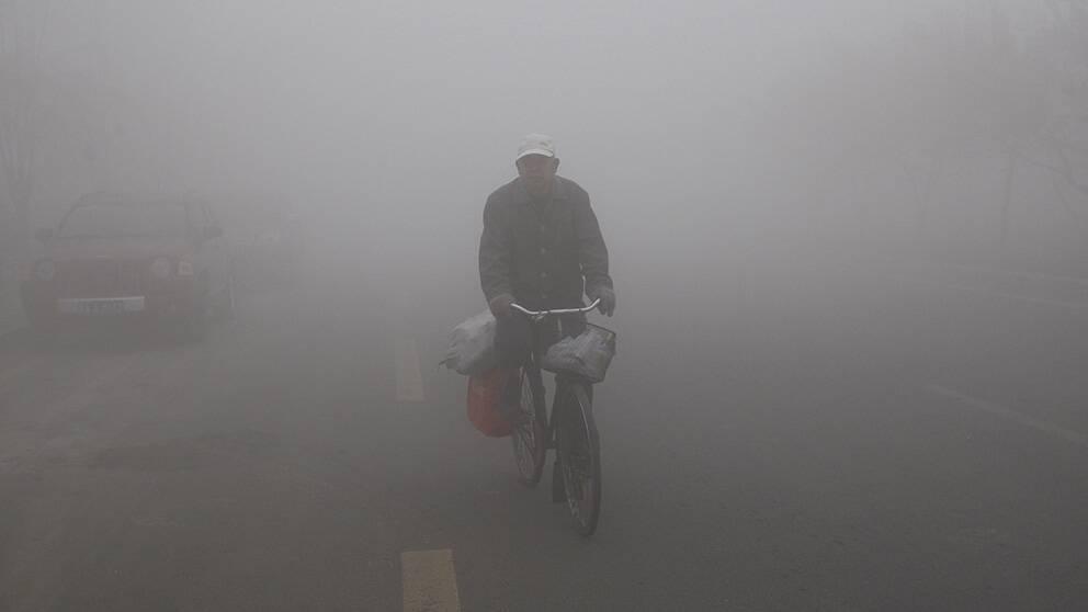 En cyklist navigerar genom smogen i Harbin