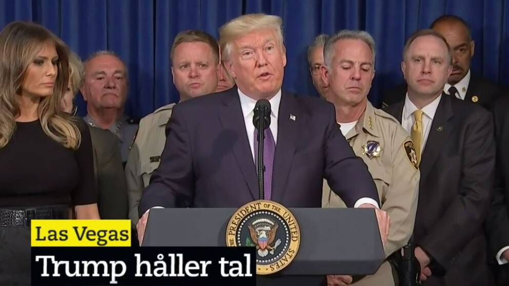 Donald Trump håller presskonferens i Las Vegas.