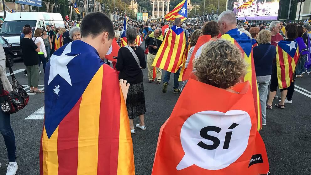 Gatufest före folkomröstningen om självständighet för Katalonien