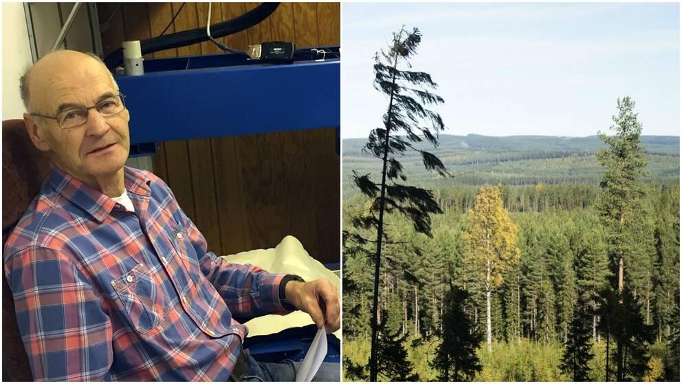 äldre man, och vy över skogsmark