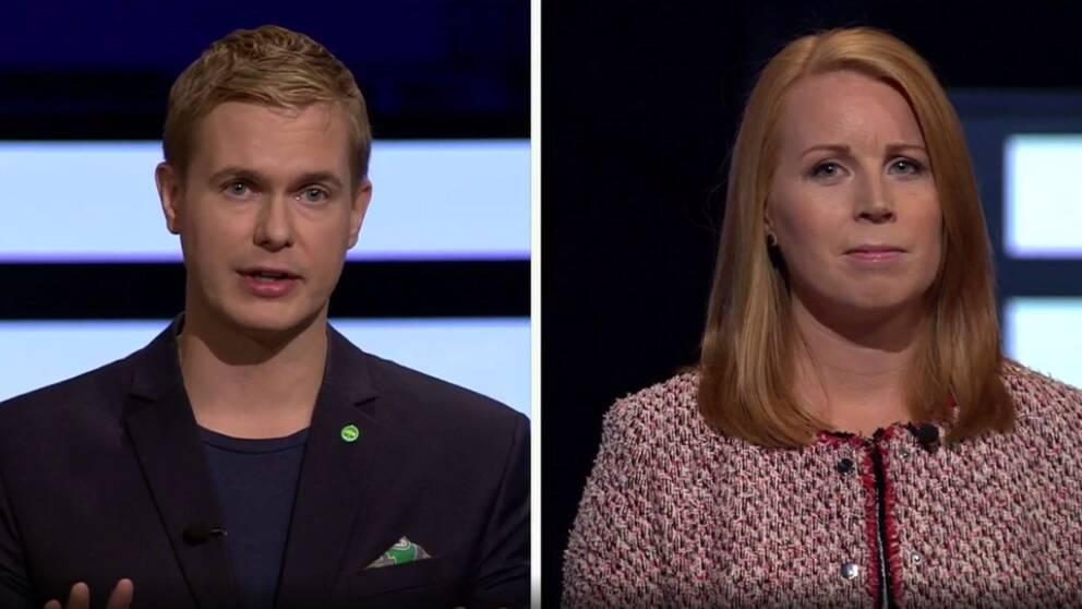 Gustav Fridolin (MP) och Annie Lööf (C).
