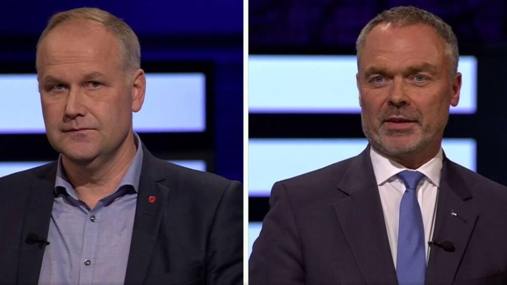 Jonas Sjöstedt (V) och Jan Björklund (L).