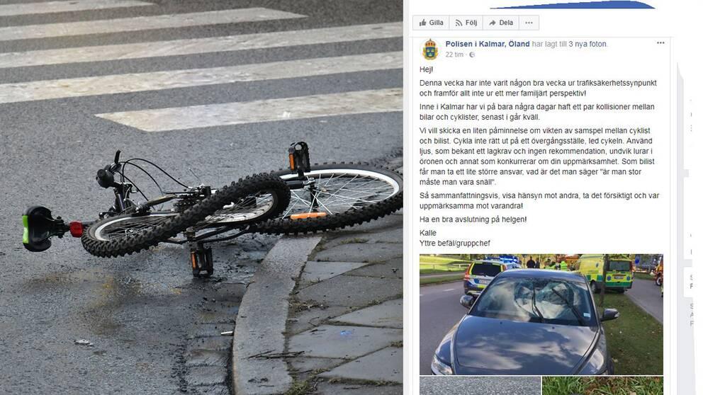 Cykel på övergångsställe och skärmdump från polisens Facebook-sida