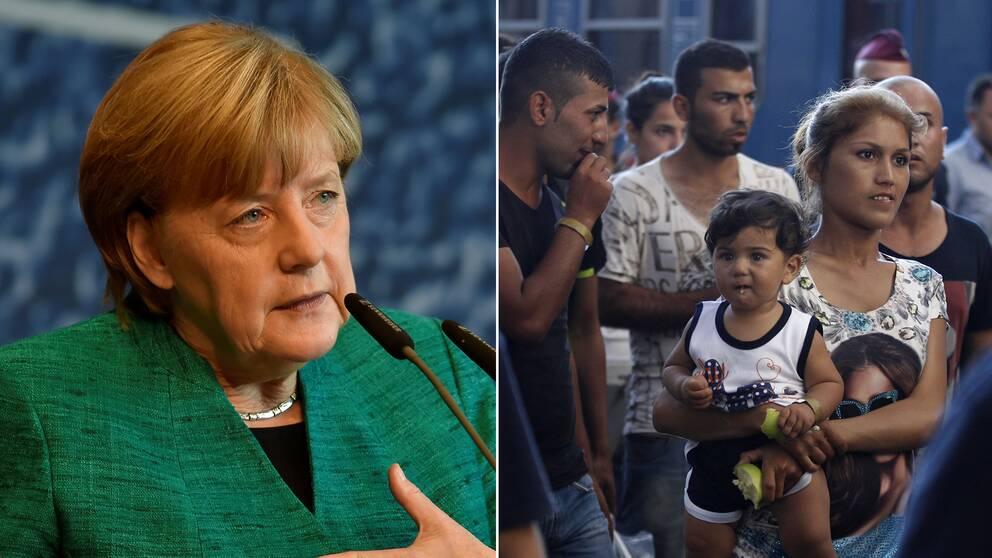 Till vänster Angela Merkel, till höger migranter i Budapest som ska kliva på ett tåg påväg till Tyskland