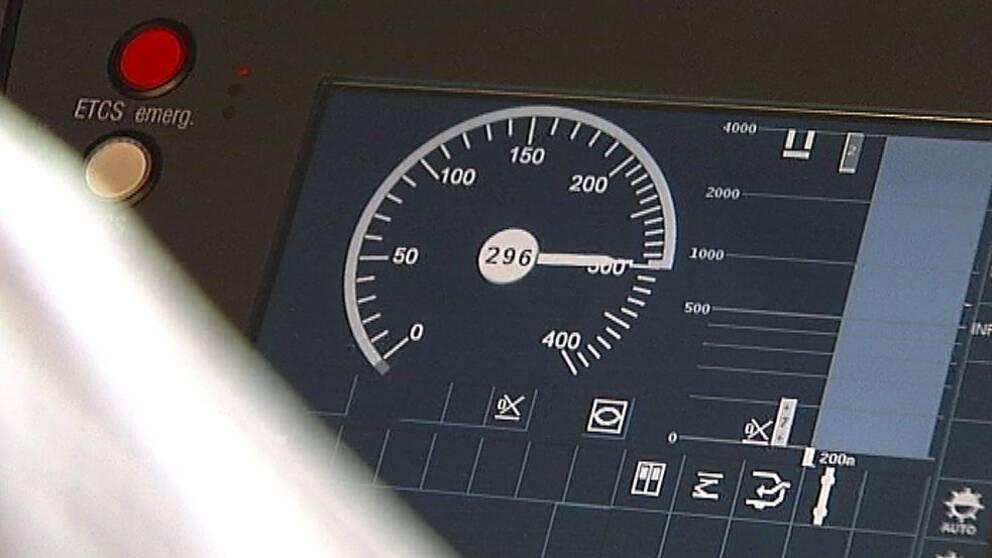 Hastighetsmätare i ett höghastighetståg