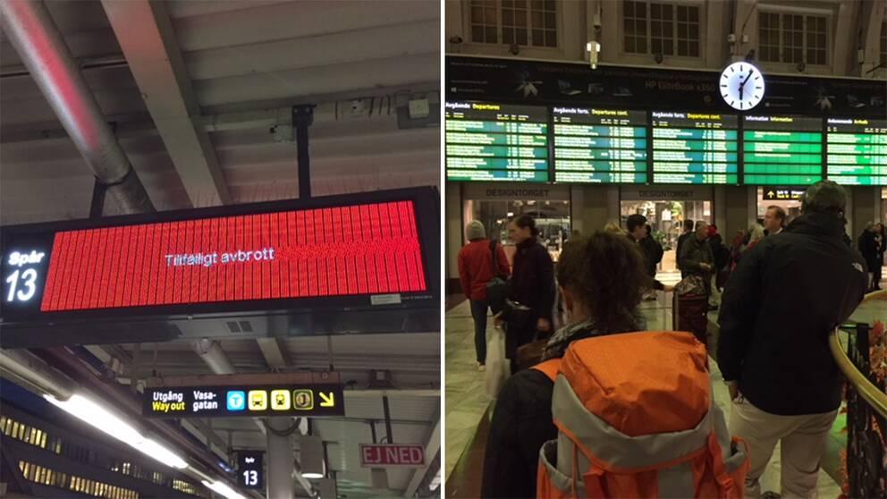 SVT:s reporter vittnar om stora förseningar och dålig information på Stockholms central där många tåg är försenade.