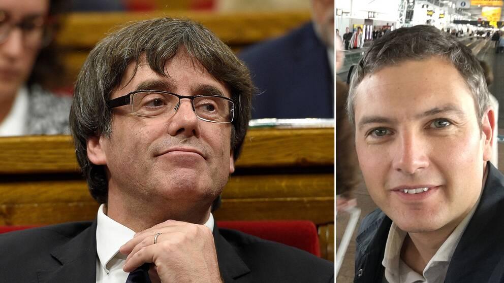 Till vänster Puigdemont och till höger SVT:s korrespondent Christoffer Wendick.