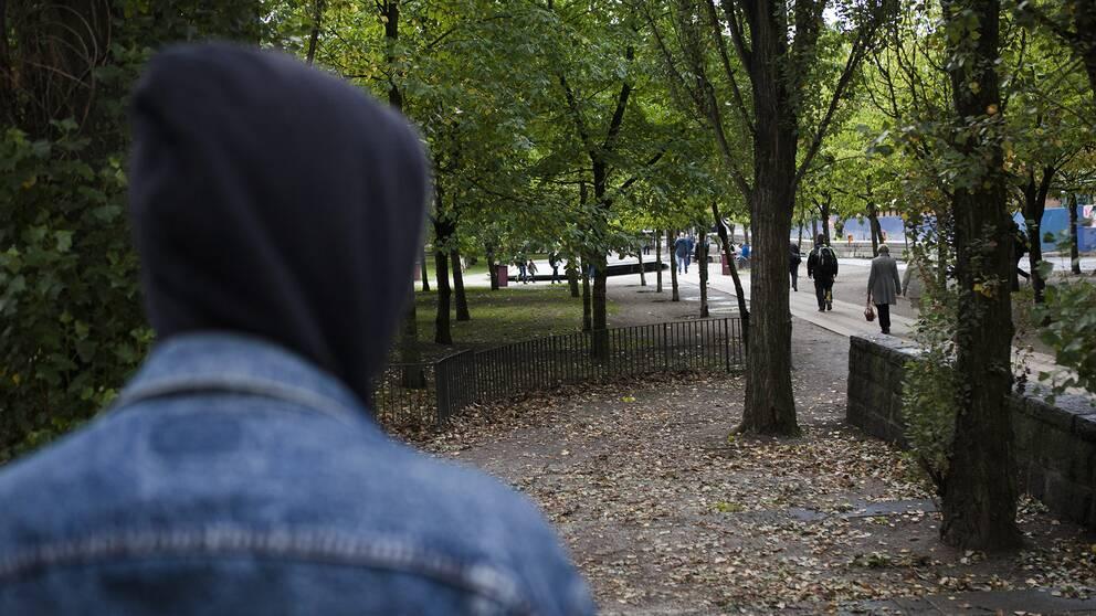 Arkivbild. En ung kille som man bara ser huvan och jeansjackan på.