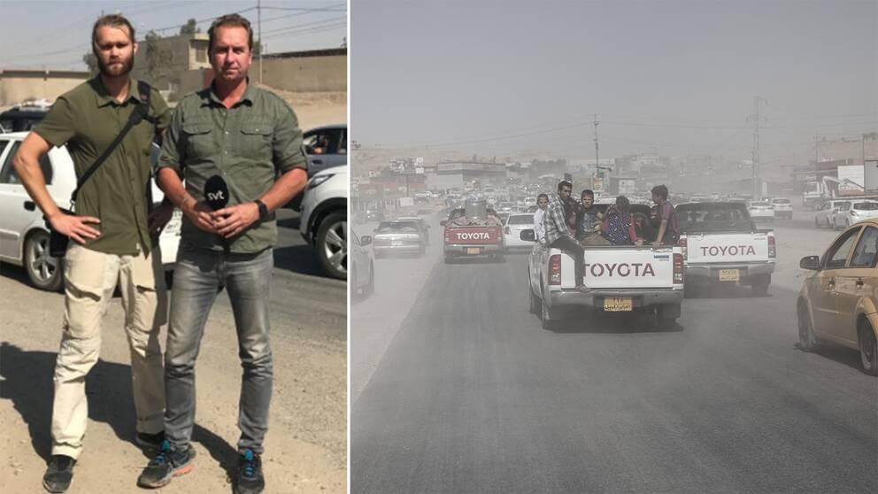 Människor flyr Kirkuk efter irakiska arméns framryckning. Till vänster SVT:s fotograf Niclas Berglund och korrespondent Stefan Åsberg.