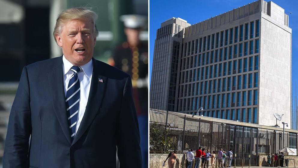 Donald Trump. Till höger USA:s ambassad i Havanna.