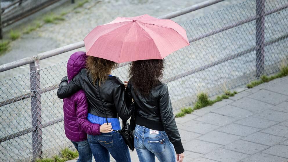 Kvinnor som går med paraply.
