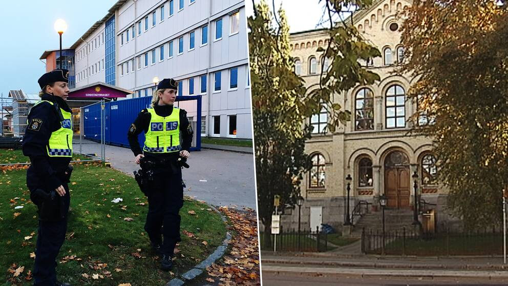Poliser utanför Sundsta- Älvkullegymnasiet. Tingvallagymnasiets fasad.