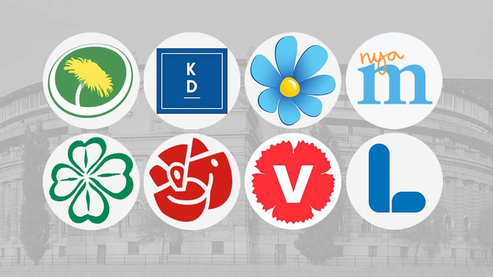 De åtta riksdagspartiernas loggor framför en grå bakgrund.