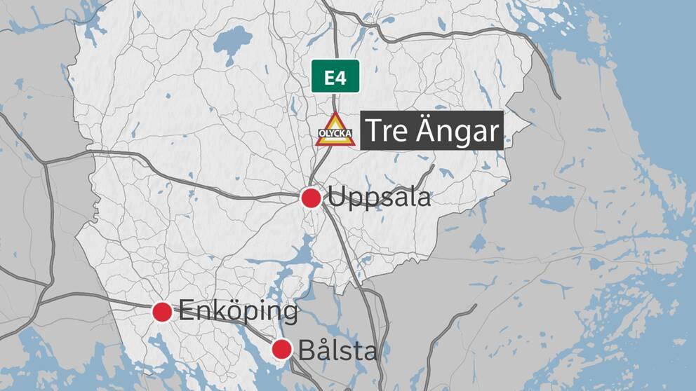 Karta över rastplatsen Tre Ängar norr om Uppsala.