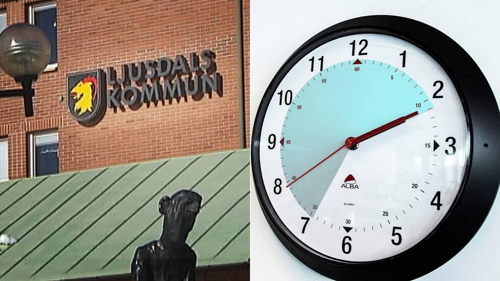 Bild på kommunskylt och klocka.