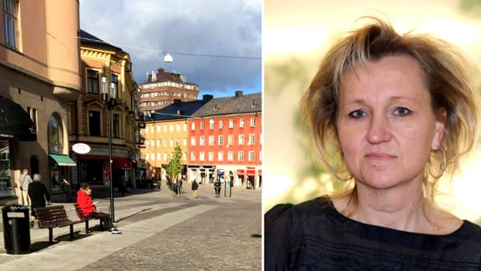 Södertälje centrum och porträtt Boel Godner (S) kommunalråd