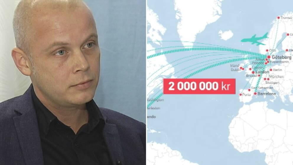 Förvaltningschefen Nisse Waldefeldt, samt grafik över vart Intraservices utlandsresor har gått.
