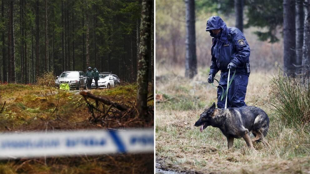 Poliser vid området runt Mulleberget i Ulricehamn, där en kvinna hittats död under gårdagen.