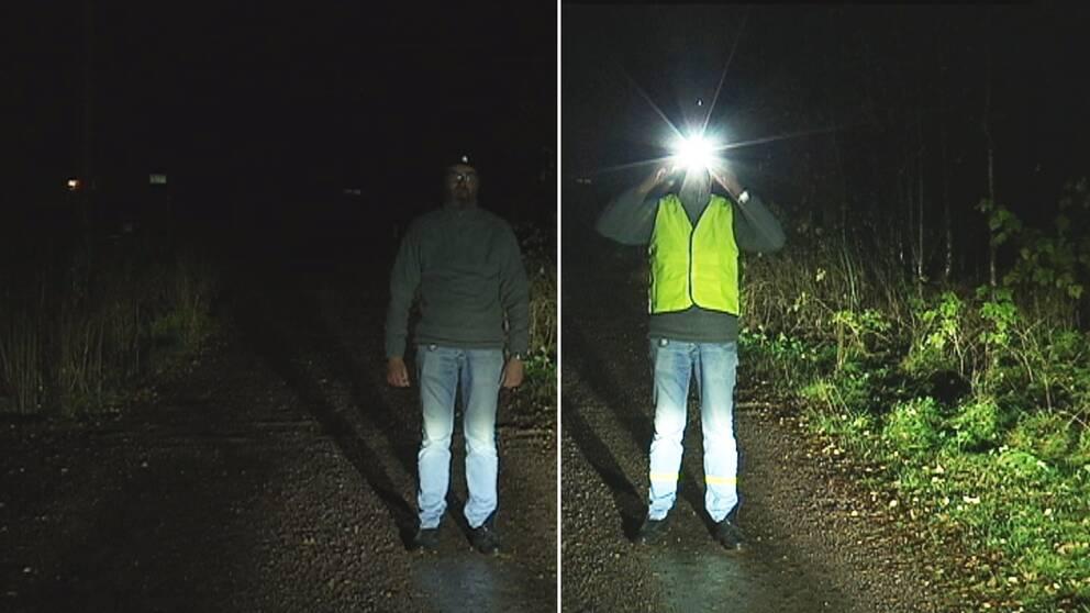 dubbelbild: person står i mörkret på väg, utan respektive med reflexväst och pannlampa.