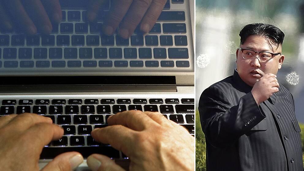 Kim Jong-Un och en person som knappar på ett tangentbord