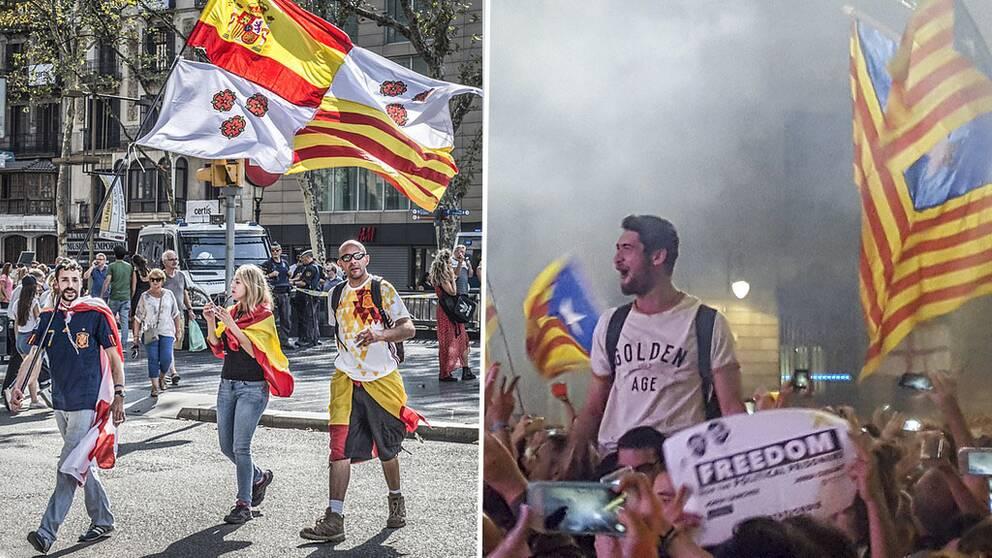 Demonstranter både för och emot Kataloniens självständighet.
