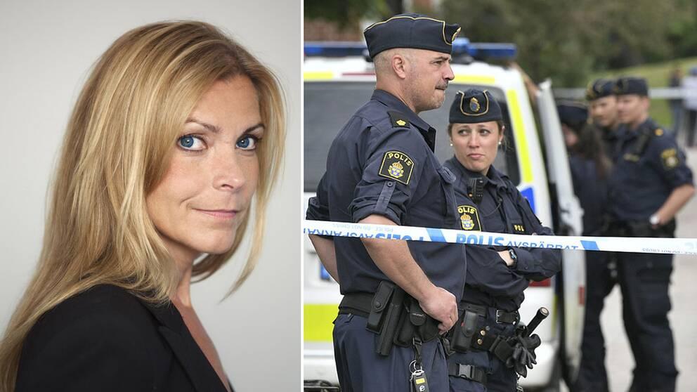 Till vänster: Lena Nitz. Till höger: En grupp poliser står vid en polisbil bakom en avspärrning.