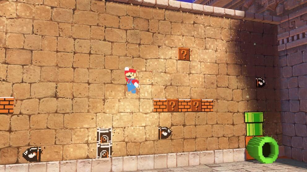 Super Mario Odyssey är fullt av hyllningar till tidigare generationers Mario-äventyr. Flera väggar och kulisser i spelet kan utforskas i 2D-format, en blinkning till 80-talets ursprungliga Mario-trilogi.