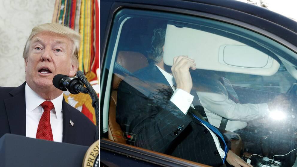 Donald Trump och Paul Manafort som döljer sitt ansikte när han lämnar sitt hem.