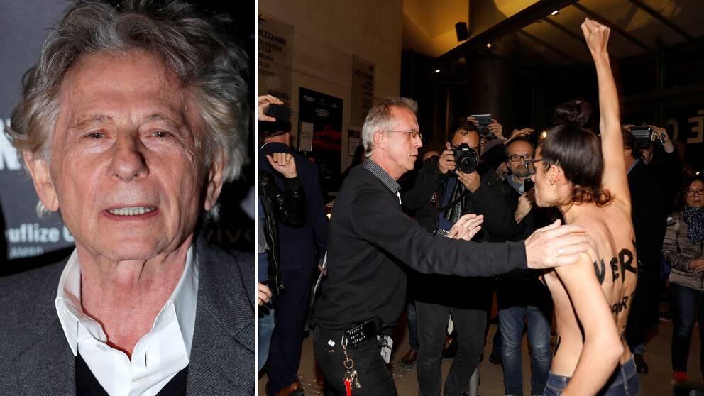 Den våldtäktsanklagade regissören Roman Polanski möttes av protester i Paris.