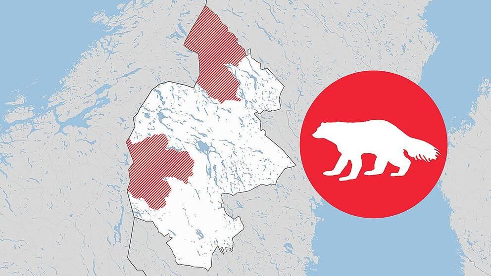 kartgrafik över områden i Jämlands län
