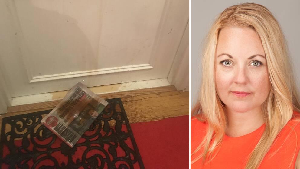 Rebecca Weidmo Uvell och en brun fläck på dörrmattan efter attacken.
