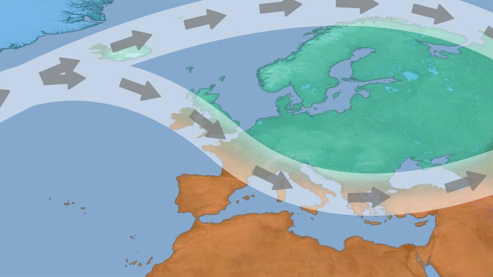 Prognosen pekar på att jetströmmen kan splittras upp ungefär i stil med bilden.  Detta ligger står till grund för hur säsongprognosen utformats.