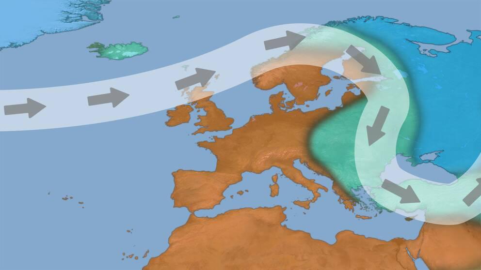 Exempel på jetströmmens läge och bana vid milt vinterväder i norra Europa.
