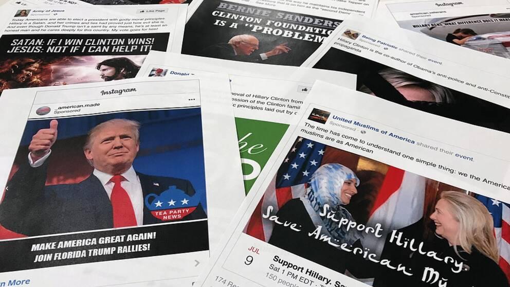 Ett urval av de annonser som kopplas till ryska försök att störa och påverka det amerikanska presidentvalet.