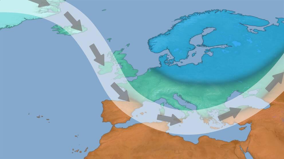 Exempel på jetströmmens läge och bana vid kallt eller mycket kallt vinterväder.  Arktisk kyla tar sig ofta ner över norra Europa när denna väderregim är dominerande.