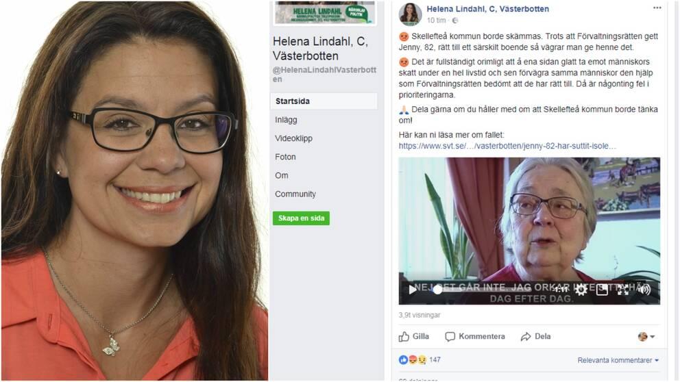 porträttbild på kvina, och skärmdump från facebook med text och video
