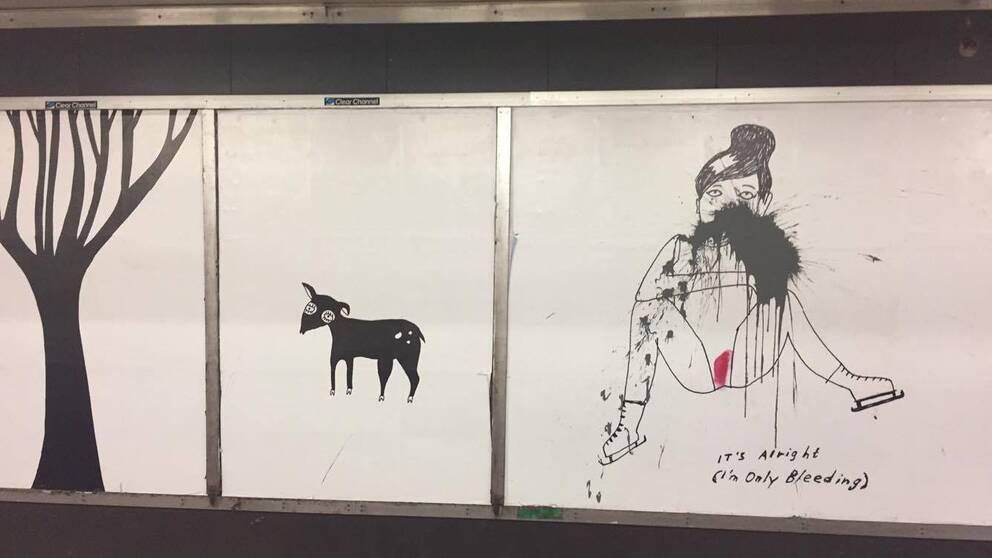Tre av Liv Strömquists bilder som visas vid Slussen i Stockholms tunnelbana.