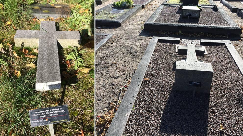 Omkullagda gravstenar på Östra kyrkogården i Göteborg.