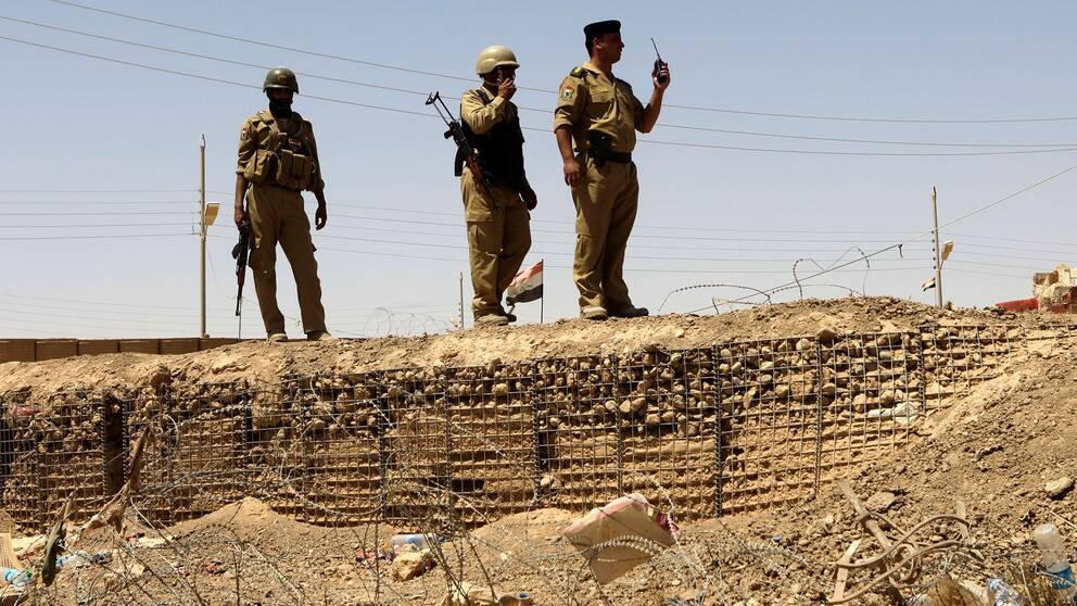 Irakiska soldater utanför staden al-Qaim.